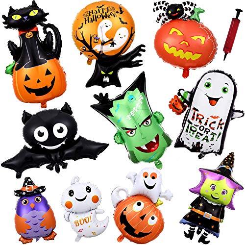 ハロウィン バルーンセット 10種10個セット 豪華 風船 おもちゃ おばけかわいい パーティー 装飾 飾り付け 空気入れ付き …