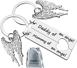 Loss Memorial Keychain Mommy Daddy of an Angel keyring Set Miscarriage Keepsake Baby Memorial Jewelry Sympathy Gift for Infant Loss Child Loss
