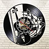 FDGFDG Guitare Instrument Vinyle LP Record Horloge Murale Musique Notes Guitariste Noir 12 Pouces Montre Vintage Design Illuminé Veilleuse Saat