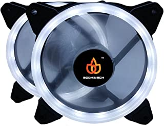 BODHiMECH 120mm Halo LED PC Cooling Silent Case Fan for PC Computer Case (2 Pack White)