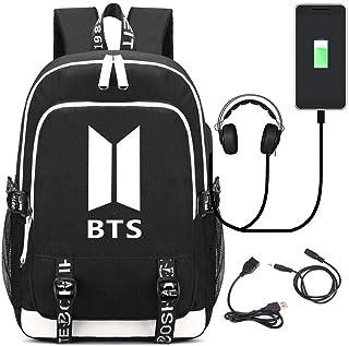 Mochila para portátil KPOP BTS Backpack Student Bag para Mujeres Hombres con Puerto de Carga USB, Negro