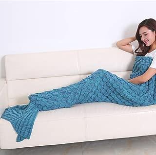LSELL Mermaid Tail Blanket Crochet Warm Mermaid Blanket for Kids Adult Teens, Super Soft All Seasons Sleeping Blankets (Blue)
