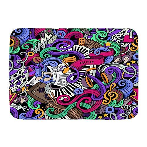 N\A Alfombra de baño, sic, temática Dibujada a Mano, Instrumentos Abstractos, micrófono, batería, Teclado, Stradivarius, Alfombrillas de Felpa para decoración de baño con Respaldo Antideslizante