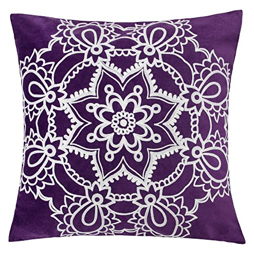 Homey Cozy Embroidery Throw Pillow Cover,Purple Series Star Mandala Velvet Large Sofa Couch Pillow Sham,20x20 Cover Only