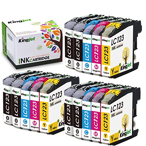 Kingjet Cartucho de Tinta Compatible para Brother LC123XL para DCP-J132W DCP-J152W DCP-J552DW DCP-J752DW DCP-J4110DW MFC-J650DW MFC-J870DW MFC-J4410DW MFC-J4510DW MFC-J4610DW MFC-J4710DW MFC-J470DW