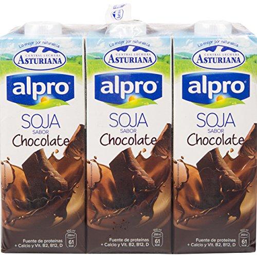 Alpro Central Lechera Asturiana Bebida de Soja Con Chocolate - Paquete de 6 x 1000 ml - Total: 6000 ml