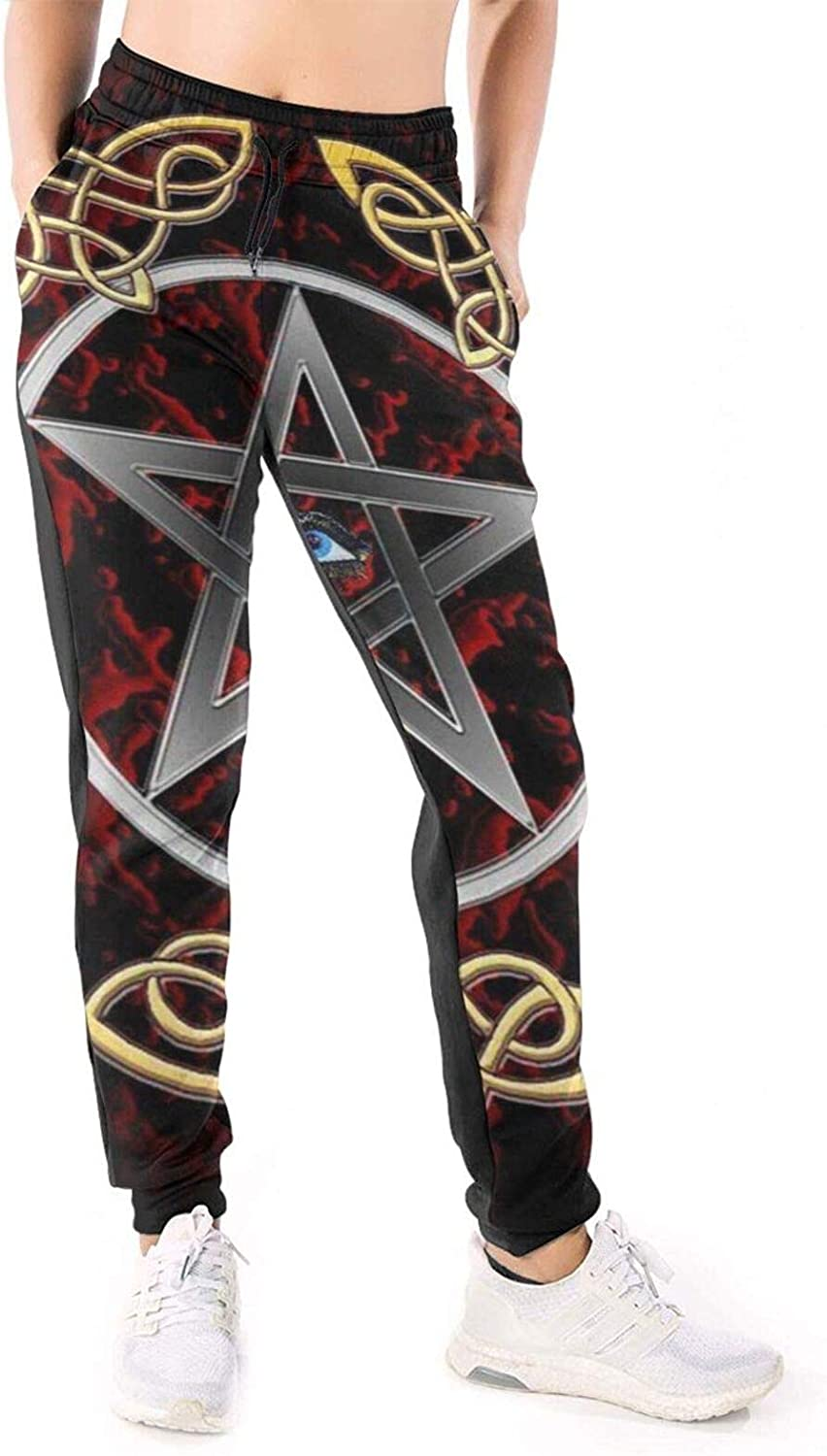 Women Joggers Pants Pentacle Baphomet Third Eye Red Athletic Sweatpants with Pockets Casual Trousers Baggy