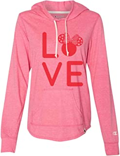 "Women's Cute Disney Minnie Mouse Champion Hoodie ""Love Minnie Mouse"" Light Weight Sweatshirt"