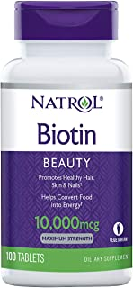 Natrol Biotin Beauty Tablets, Promotes Healthy Hair, Skin and Nails, Helps Support Energy Metabolism, Helps Convert Food I...