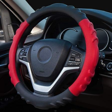 Neue Auto Lenkradbezug Kunstleder Massage Universal 15 Zoll 38 Cm Atmungsaktiv Anti Rutsch Schutz Für Auto Truck Suv Van Schwarz Rot Auto