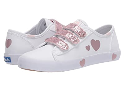 Keds Kids Kickstart 3V (Little Kid/Big Kid) (White/Pink) Girl
