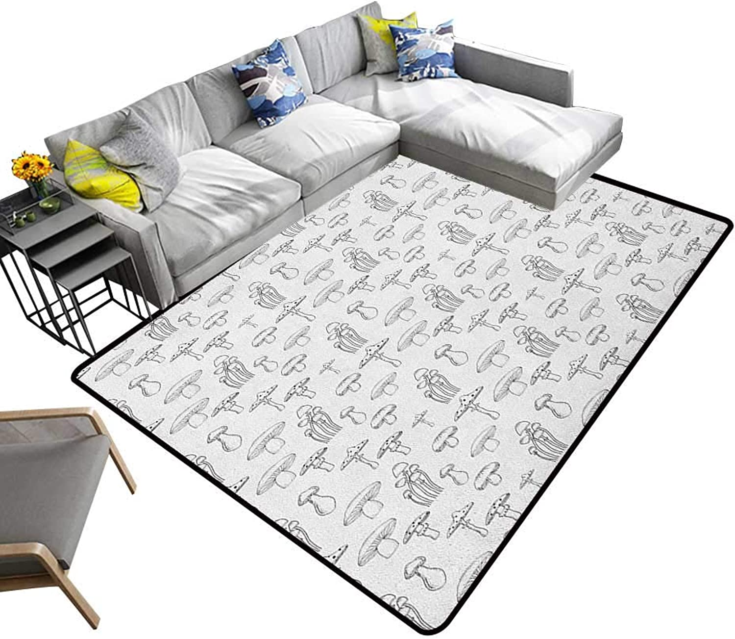 Mushroom Non-Slip Floor mat Collection of Different Mushrooms Doodle Style Monochrome Display Organic Garden 70 x82 ,Can be Used for Floor Decoration