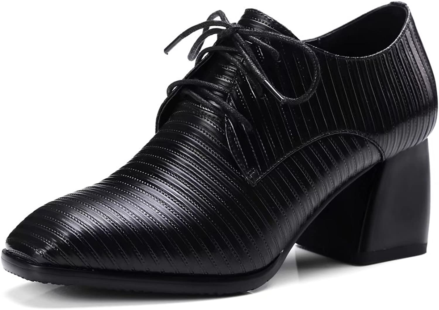 VIMISAOI Women's Lace Up Oxford shoes Nappa-Leather Black Chunky Heel Ankle Booties