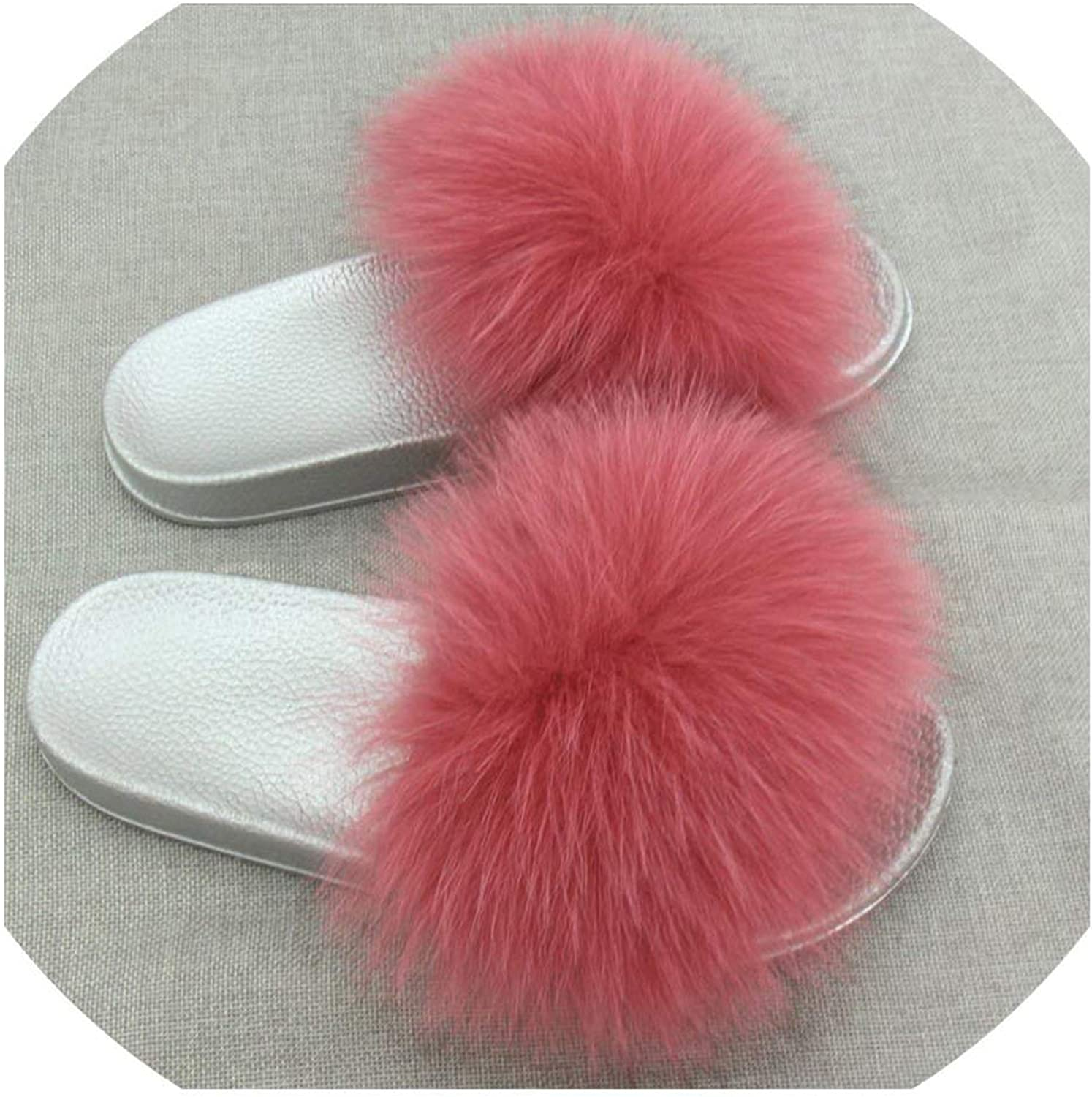 Sandals Real Hair Slippers Fox Hair Beach Sandals Fluffy Comfort Hairy Slippers Sandals 2019 Summer Models