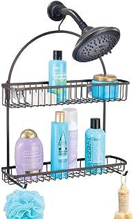 mDesign panier de douche à suspendre – rangement de douche chic sans perçage – étagère de douche en métal à deux paniers e...