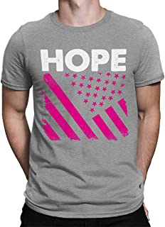 SpiritForged Apparel Hope Pink American Flag Breast Cancer Men's T-Shirt