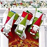Calcetín Navidad Grande Juego de 3, 49 x23 cm Medias de Navidad Bolsa de Regalo, Decoración Navidad Tema de Felpa 3D Gnomo de Navidad Sueco, Adorno Colgante de Navidad para Árbol de Navidad, Chimenea