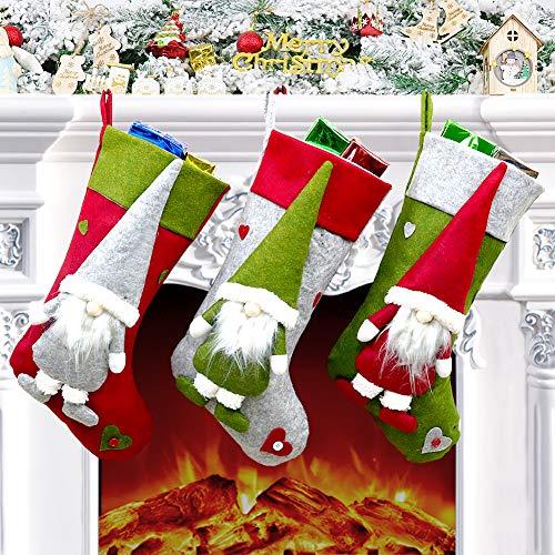 Bonbell Calza Natalizia, Calza di Natale Set 3 Pezzi per Decorazioni Natalizie (18 Pollici) (01)