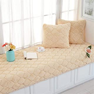 CAMAL Short Plush Thickened Non-Slip Bay Window Pad/Windowsill Mat/Sofa Mat/Sofa Cushion (70x150cm, Yellow)