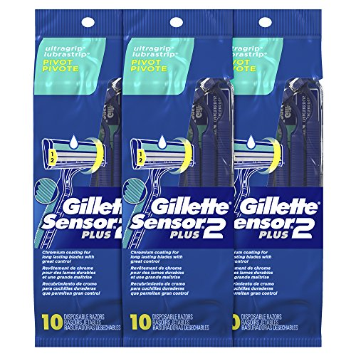 Gillette Sensor2 Plus Men's Disposable Razor, Pivot, 10 count (Pack of 3), Mens...