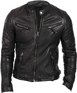 جاكيت رجالي من الجلد مطبوع عليه راكب الدراجات النارية باللون الأسود من Vintage Motorbike