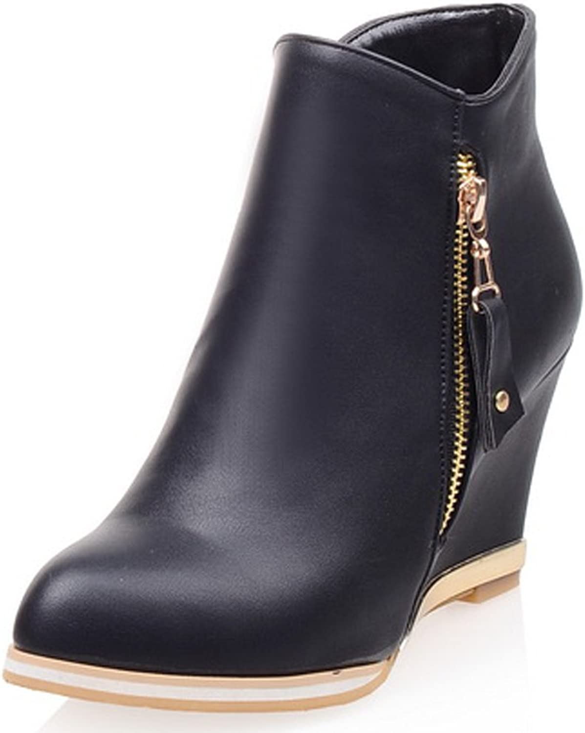 AIWEIYi Womens Round toe Wedges shoes Back Zip High Heel Winter Snow Ankle Boots