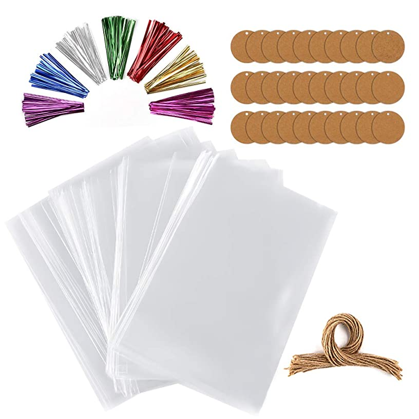 Tomnk Cellophane Bags, 300 Pcs Cello Bags with 300 4