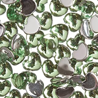 Zink Color Nail Art Acrylic Rhinestone Green Heart 100 Piece Embellishment