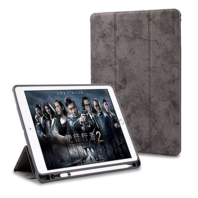 ProElite PU Smart Flip Case Cover for Apple iPad Air 3 10.5  with Pencil Holder, Grey