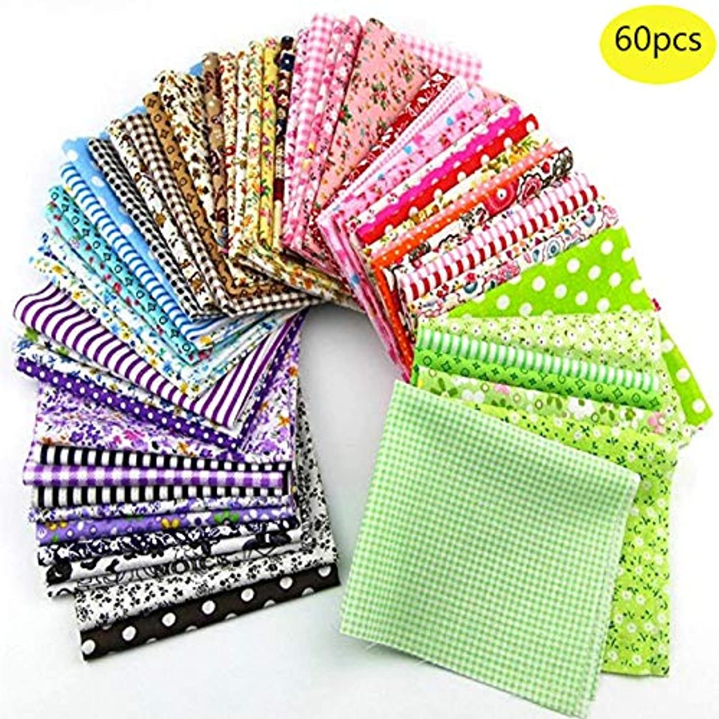 60 Pcs Assorted Craft Fabric Bundle Squares Patchwork Fabric Sets for DIY Sewing Scrapbooking Quilting Dot Pattern itbodhoq76274457