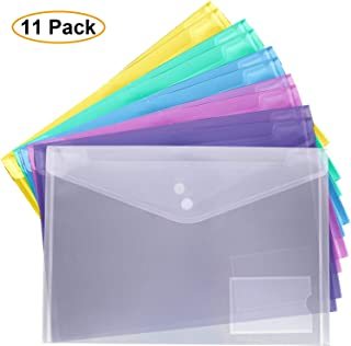 Filly Wink Plastic Document Folder Waterproof Transparent Project Poly Envelopes Folder,US Letter/A4 Size,Snap Closure,School and Office Organizer A4 11 Pack