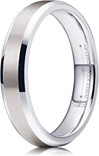 Three Keys Jewelry 2mm Womens Titanium Wedding Ring Matte Frost Silver Wedding Band Engagement Ring