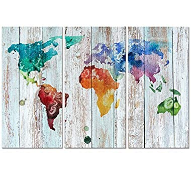 Visual Art Decor Vintage World Map Wall Art Canvas Prints Map Wood Background Painting Poster Prints Home Decoration Ready to Hang (3 panels Large, Retro)