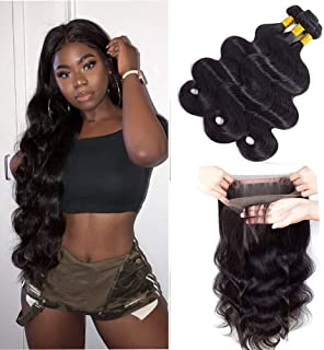 Sweetie Hair 360 Lace Frontal With Bundles100 Unprocessed Brazilian Body Wave Virgin Hair With Closure Virgin Hair Bundles Cheap Price 8A Weave Hair Human Bundles (20 22 24 with 18)