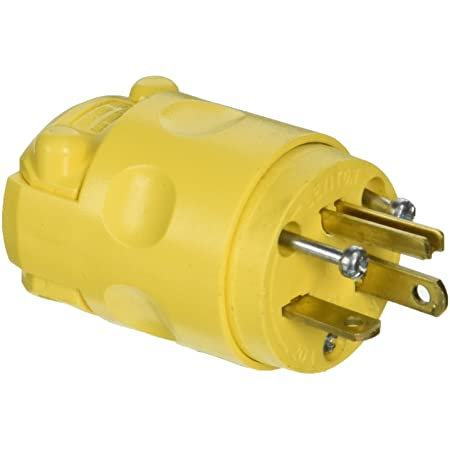 Leviton Yellow Dustguard Straight Blade Plug Grounding NEMA 5-20P 20A 125V 1433