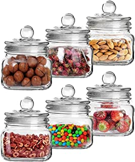 Exelcius® - Pop Glass Jar with Glass Airtight Lid 500 ml Transparent Kitchen Storage Container Box for Food Spice Masala P...