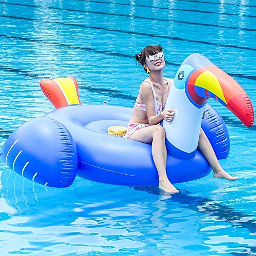 YAMMY Juguetes inflables Summer Blue Toucan Flotante Fila, Anillo de natación para Adultos Cojín Cama Flotante Reclinable Tablero Flotante Inflable (Juguetes para la Piscina)