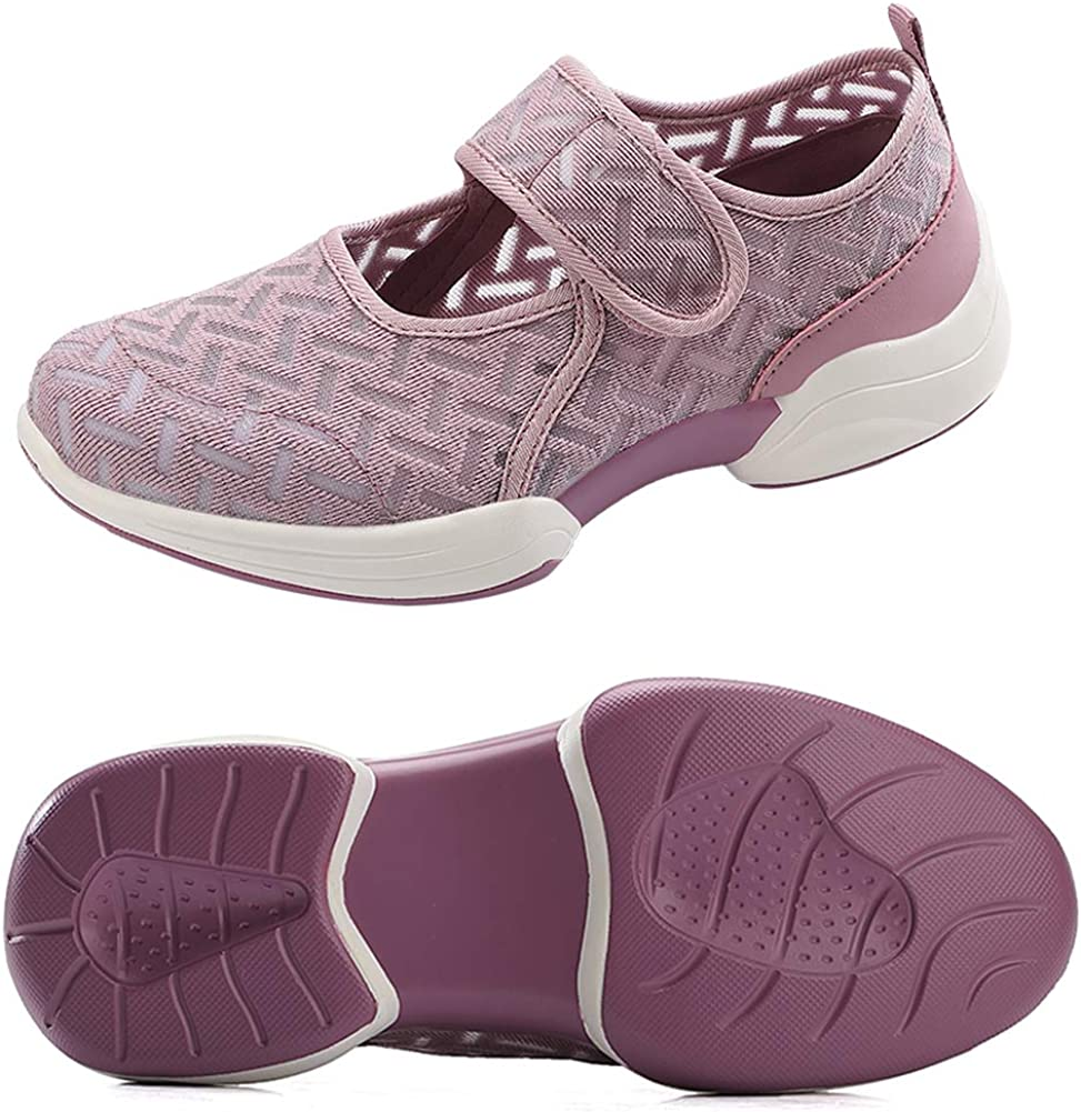 VIMISAOI Women's Comfortable Mesh Walking Shoes, Lightweight Soft Flat Fashion Sneakers, Hook and Loop Arch Support Shoes Purple