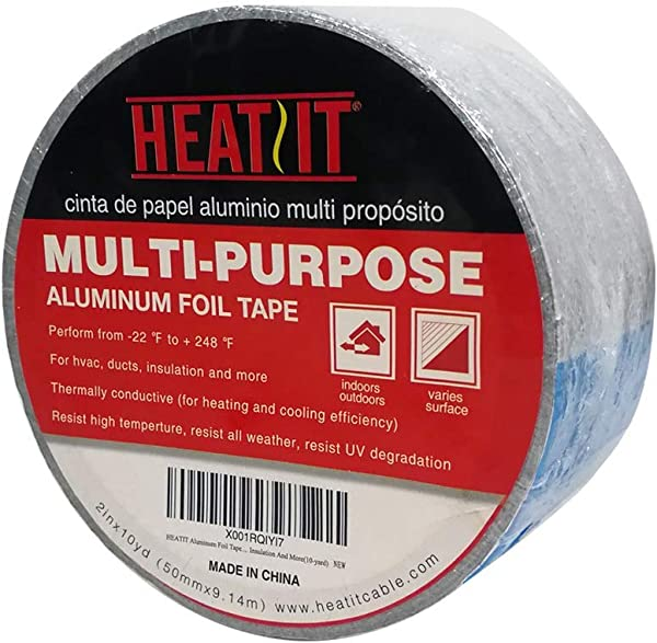 HEATIT Aluminum Foil Tape Professional Grade 2 Inch X 30 Feet 10yard Length Thick 5 3mil 2 4mil Foil And 2 9mil Backing Paper For HVAC Ducts Pipes Metal Repair Heating Cable Application Etc