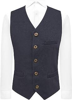 King & Priory Luxury Navy Blue Donegal Tweed Waistcoat