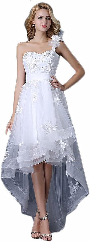KAY&LAYLA HiLow One Shoulder Flower Beading Wedding Dresses WD5121608