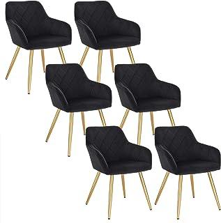 EUGAD Pack de 6 Sillas de Comedor Vintage Diseño Sillas Nórdicas Moderna Silla Tapizada de Terciopelo Silla Cocina Salón Dormitorio Conferencia Negro