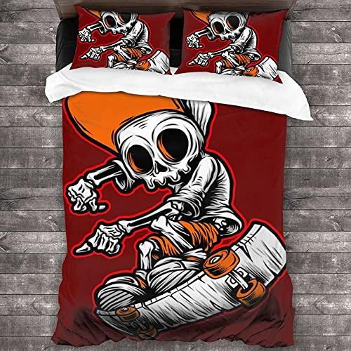 QQIAEJIA Funny Skull Skateboard 3 pezzi Biancheria da letto Set copripiumino Twin Big Size Copripiumini Federe per cuscini Super Soft per la casa Camera da letto Hotel Four Seasons 86 'X 70'