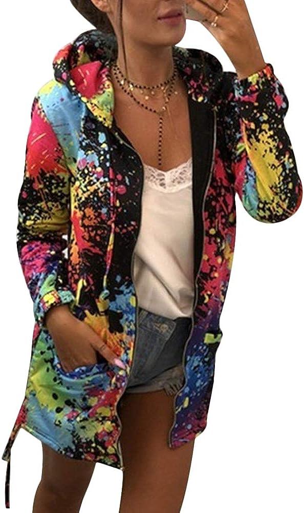 Women's Tie Dye Print Zip Up Hoodies Colorful Coats Casual Oversized Jackets Outwear