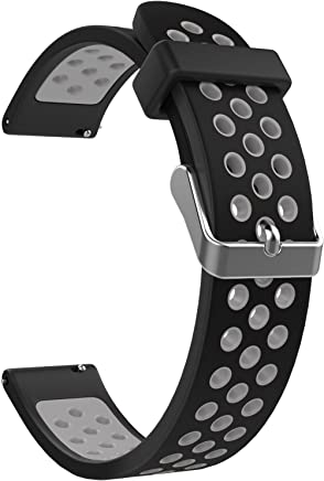 Emibele 18mm Universal Watch Sport Strap, Multihole Silicone Adjustable Replacement Strap for 18mm Band - Black & Gray