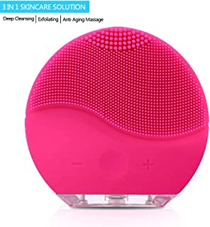 Facial Cleaning Brush,Minso Waterproof & Silicon Facial Cleaner, Electric Masager Cleansing System for Deep Cleansing Skin Care, Face Massage Brush and USB Charging Cables (Red)