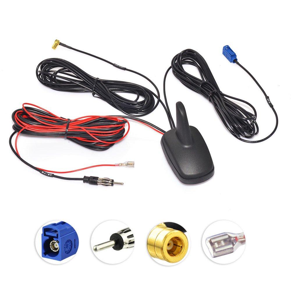 Eightwood Dab+ GPS Antena automóvil Fakra C a DIN a SMB Radio para ...