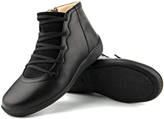 Womens Flats Boots Side Zipper Leather Ankle Booties Comfortable Outdoor Anti-Slip Waterproof Shoes