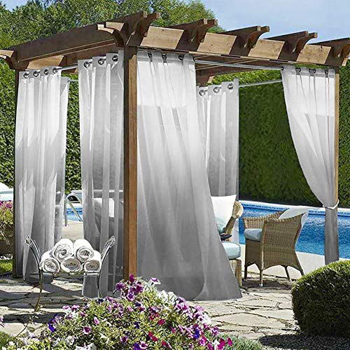 Wilike Ombre Sheer Outdoor Curtains for Patio,2 Panels Waterproof...