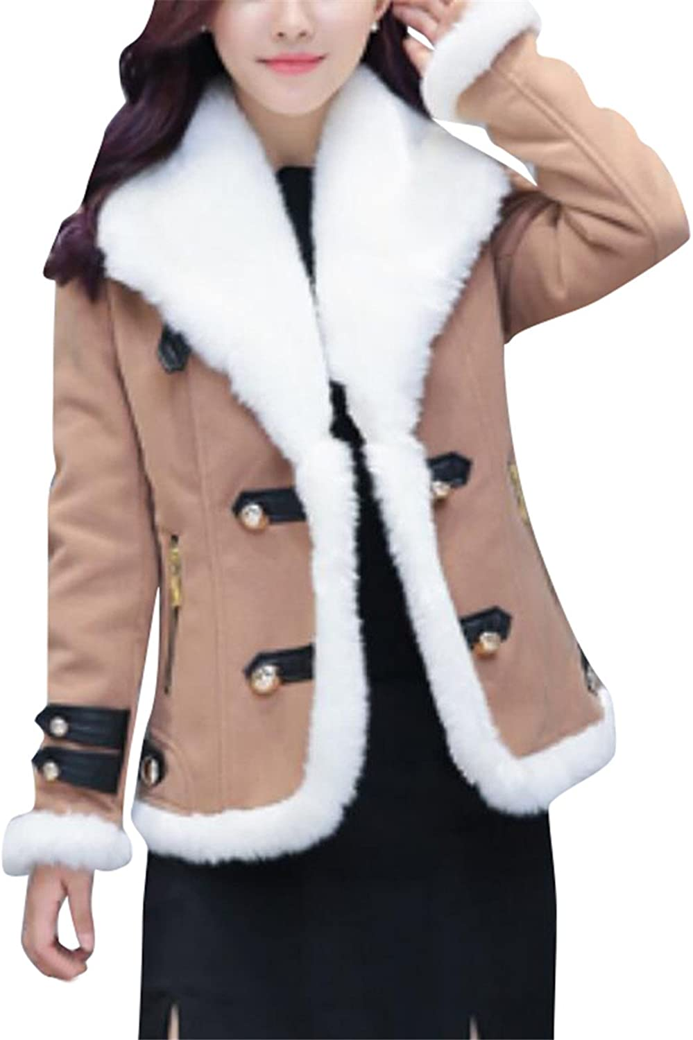 KLJRWomen Winter Sherpa Lined Thick Wool Blend Leather Jacket